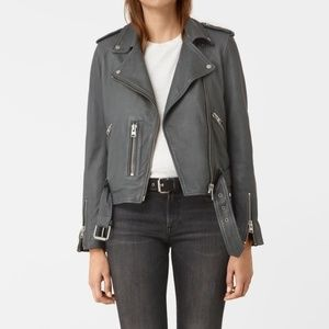 ALL SAINTS Leather Jacket in Grey (size 2)